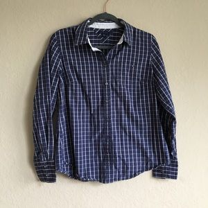 Tommy Hilfiger Plaid Button Down Long Sleeve Top L